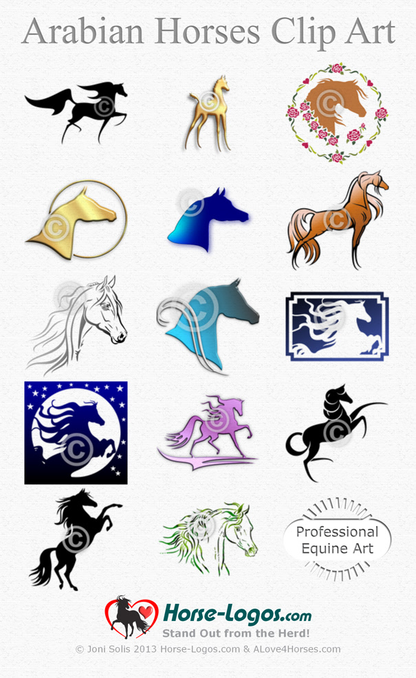 Horse Clip Art of Arabian Horses