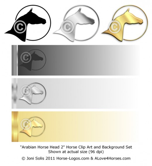 Arabian Horse Head 2 - clip art and background set