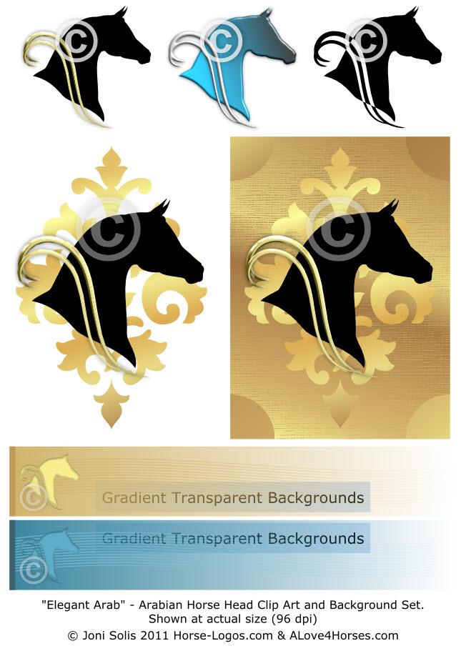 Elegant Arab - Arabian horse head clip art set