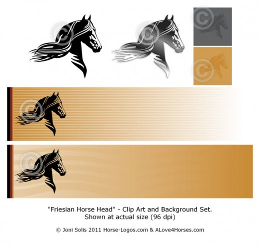 Friesian Horse Head clip art and background set