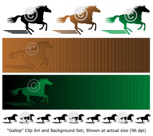 Gallop - Running horse clip art set