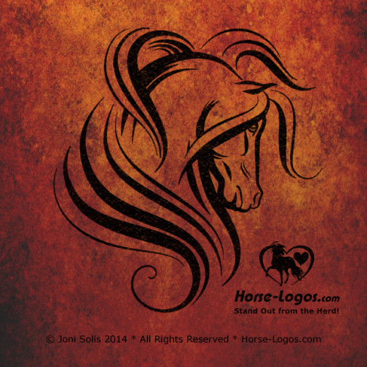 Horse Head Graphic with Flowing Mane