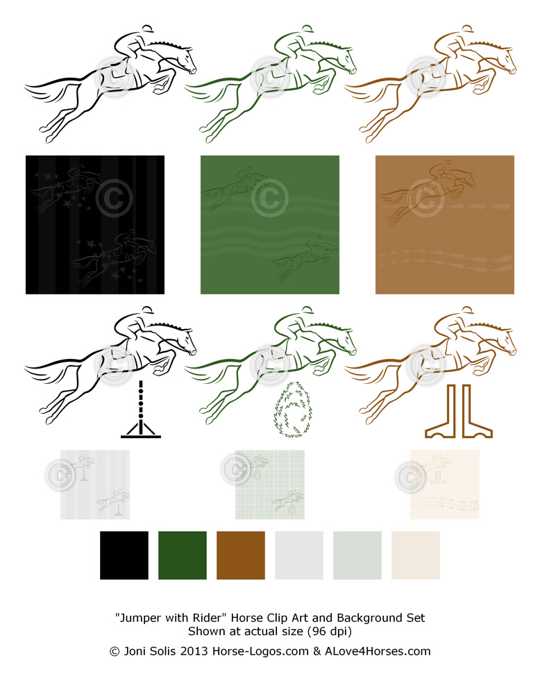Jumper with Rider - Jumping horse clip art set - Jumping horse with rider graphic