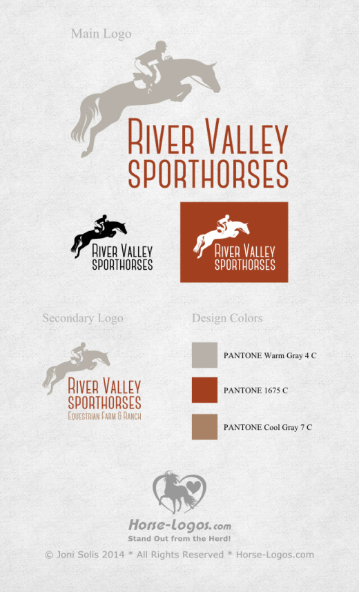 Jumping horse logo design purchased by River Valley Sporthorses