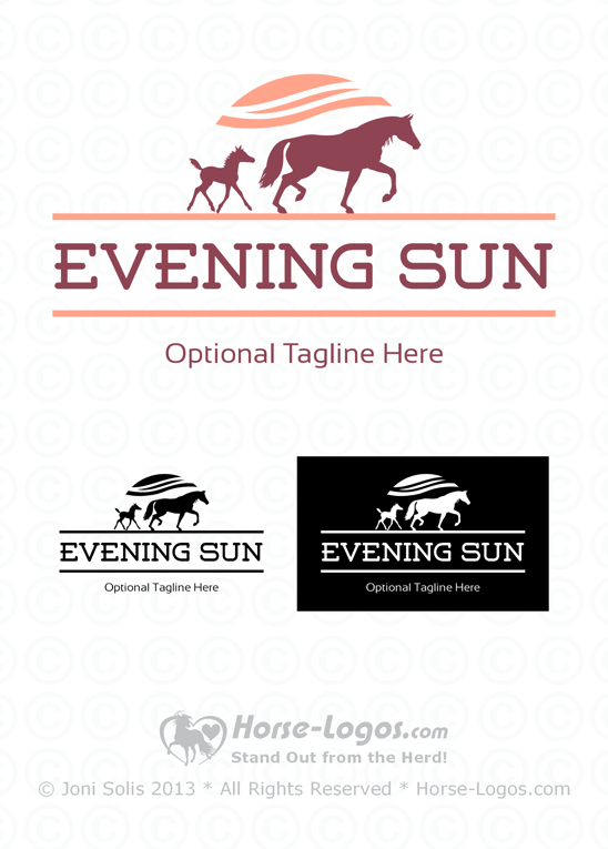Mare and Foal Logo - Evening Sun