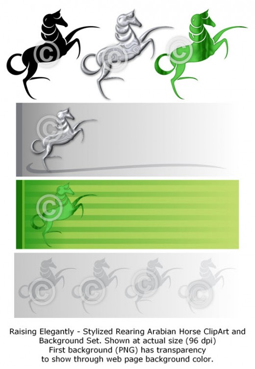 Raising Elegantly - Arabian horse clip art set