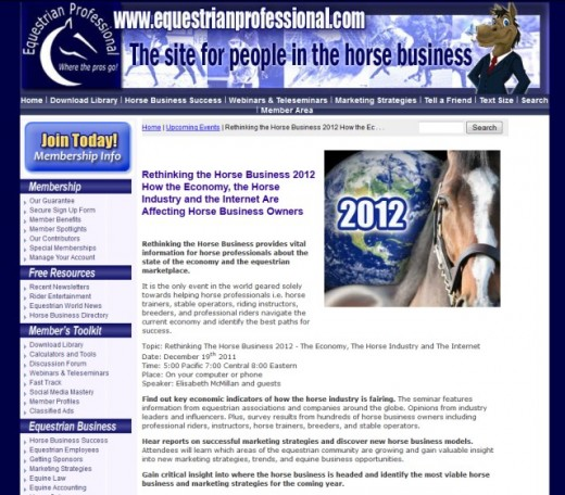 ad for Rethinking the Horse Business 2012