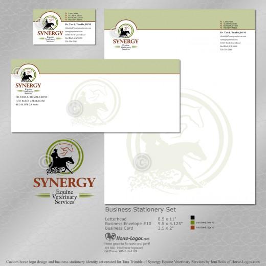 Horse logo design set for Synergy Equine Veterinary Services
