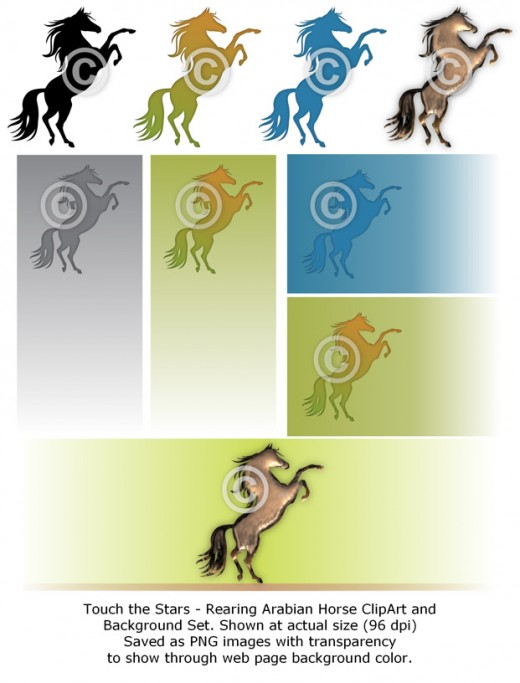 Touch the Stars - Arabian horse clip art set